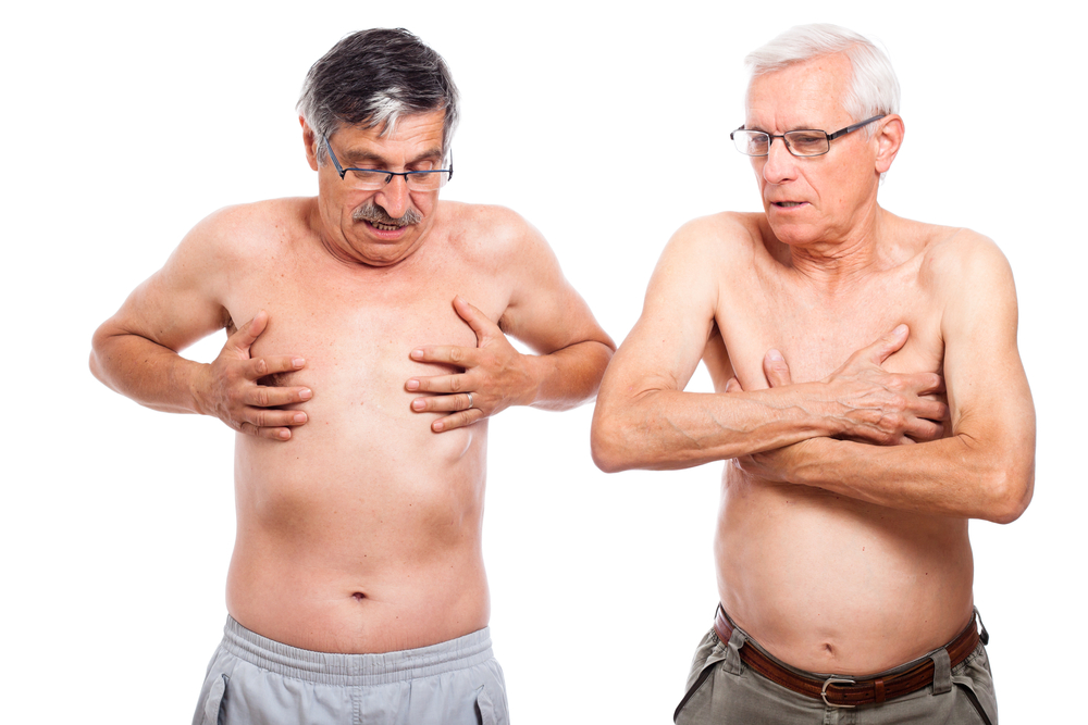 men checking for breast cancer